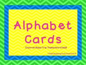 Road Trip Theme Chevron Word Wall Alphabet