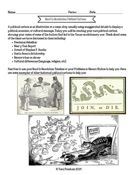 Road to Revolution Political Cartoon- Texas History