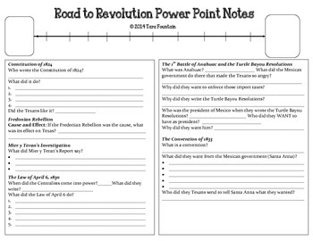 Road to Revolution Power Point Notes - Texas History (goes