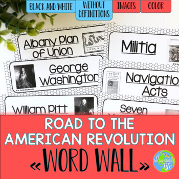 Road to the American Revolution Word Wall without definiti