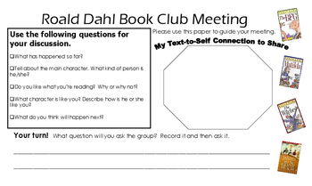 Roald Dahl Book Club Meeting Learning Discussion Map