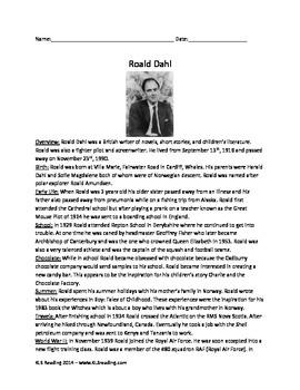 Roald Dahl - Life History Facts - Review questions vocabul