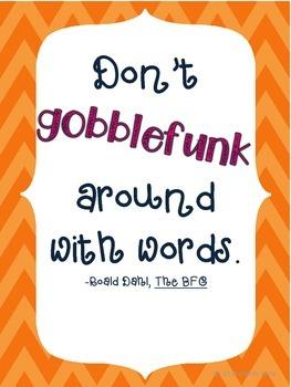 """Roald Dahl Quote """"Gobblefunk"""" Poster"""
