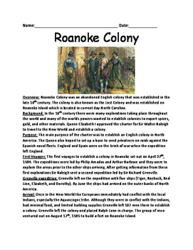 Roanoke Colony - Lost Colony history lesson facts question