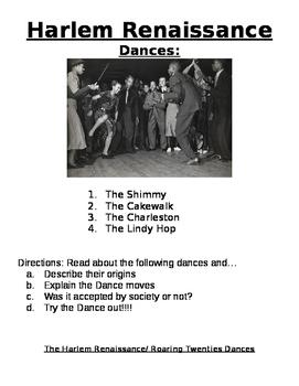 Roaring Twenties- Harlem Renaissance: Dances - activity, r