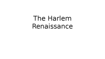 Roaring Twenties Harlem Renaissance- PPT: Jazz, Music, Dan