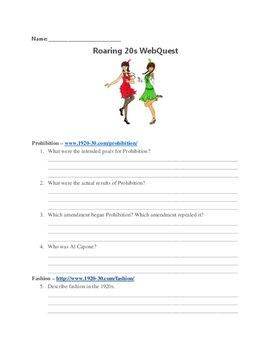 Roaring Twenties WebQuest (with answer key)!