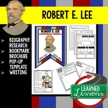 Robert E. Lee Biography Research, Bookmark Brochure, Pop-U