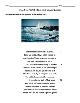 """Robert Frost: """"Once By the Pacific"""" Questions"""