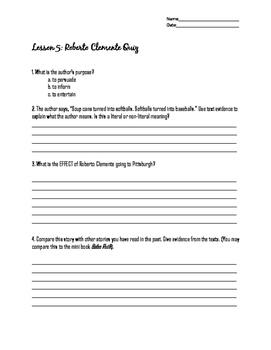 Roberto Clemente Quiz: Lesson 5