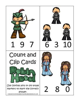 Robin Hood themed Count and Clip preschool printable math