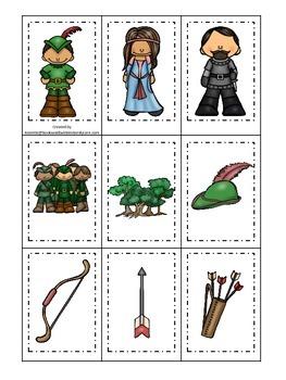 Robin Hood themed Memory Matching preschool printable lear