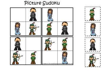 Robin Hood themed Picture Sudoku preschool printable learn