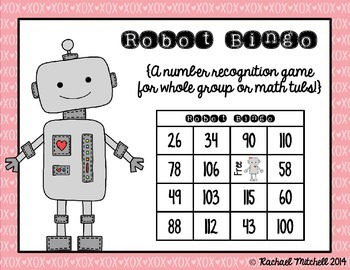 Robot Bingo- A Number Recognition Game- Aligned with 1st G