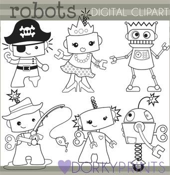 Robot Kids Black Line Clip Art