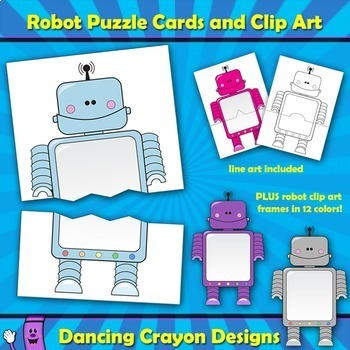 Robot Puzzle Cards and Robot Frames - Clip Art Set