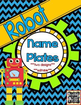 Robot Theme Name Plates *editable*