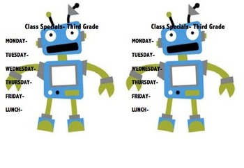 Robot Theme Class Specials Printable Daily Schedule