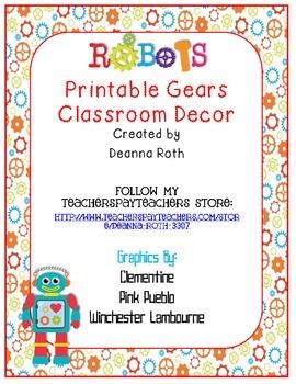 Robots Printable Gears Classroom Decor