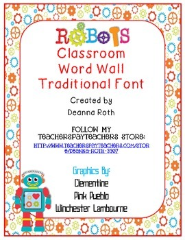 Robots Word Wall Headers {Traditional Font}