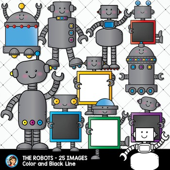 Robots holding Whiteboards and Chalkboards Clip Art