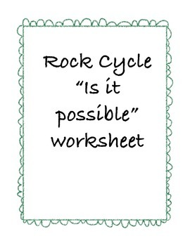 "Rock Cycle ""Is It Possible"" Worksheet"