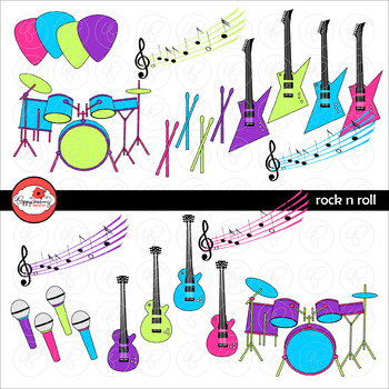 Rock N Roll Music Clipart by Poppydreamz