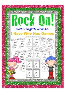 Rock On I Have Who Has Sight Word Games B&W Rockstar theme