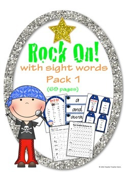 Rock On Sight Words Display Poster and Word Work Pack 1 Gr