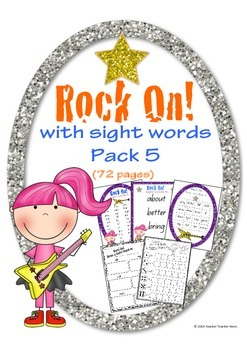 Rock On Sight Words Display Poster and Word Work Pack 5 Gr
