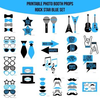 Rock Star Blue Printable Photo Booth Prop Set