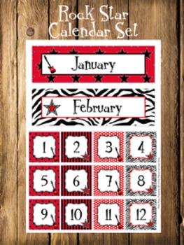 Rock Star Calendar Set - Months - Days - Numbers