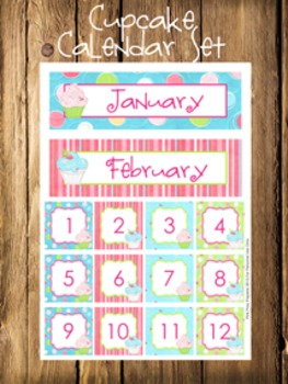 Cupcake Calendar Set - Months - Days - Numbers