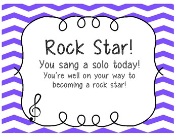"""Rock Star Certificates, """"You sang a solo today!"""" [FREEBIE]"""