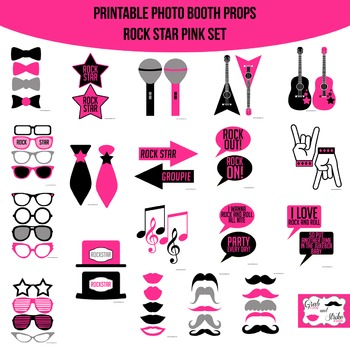 Rock Star Pink Printable Photo Booth Prop Set