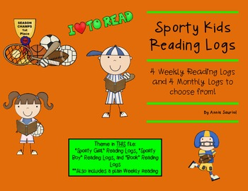 Sporty Kids Reading Logs: Daily and Monthly Recording Shee