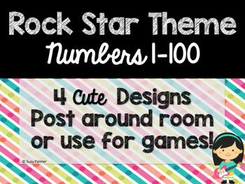 Rock Star Theme Classroom Decor: Numbers 1-100