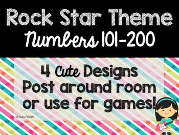 Rock Star Theme Classroom Decor: Numbers 101-200