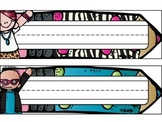 Rock Star Themed Pencil Name Plates