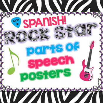Rock Star Zebra Print Parts of Speech Posters SPANISH