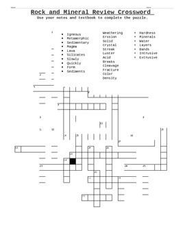 Rock and Mineral Crossword