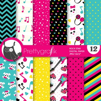 Rock star digital paper, commercial use, scrapbook papers,