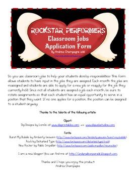 RockStar Performers Classroom Jobs Application Form