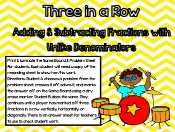RockStar Review Game-Adding and Subtracting Fractions Thre