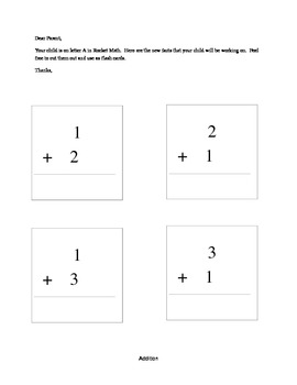 Rocket Math Addition Facts and Letter to Parents