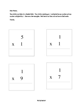 Rocket Math Multiplication Facts and Letter to Parents