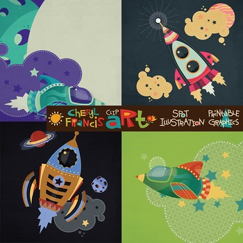 Rockets N Space Clip Art 44 pieces/high res/.png format
