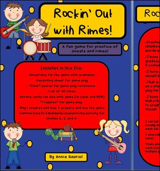 Rockin' Out with Rimes! ELA Game for practice of Onsets an