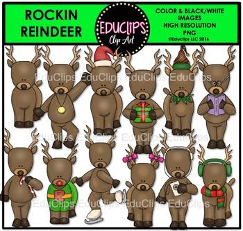 Rockin' Reindeer Clip Art