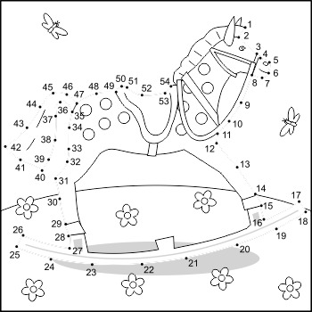 Rocking Horse Connect the Dots and Coloring Page, Commerci